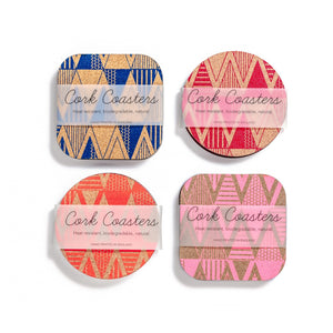 screen printed cork drink coasters in colours blue red orange and pink