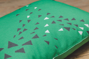 LUCASLOVES, Murmur Cushion Cover in Reed Green. Design Detail.