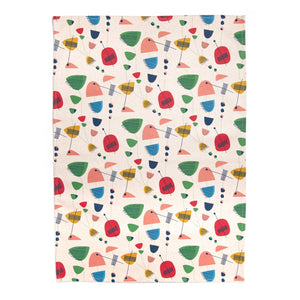 brightly coloured, mid century inspired patterned tea towel organic cotton designed by LucasLoves. Designed, printed and produced in the UK.