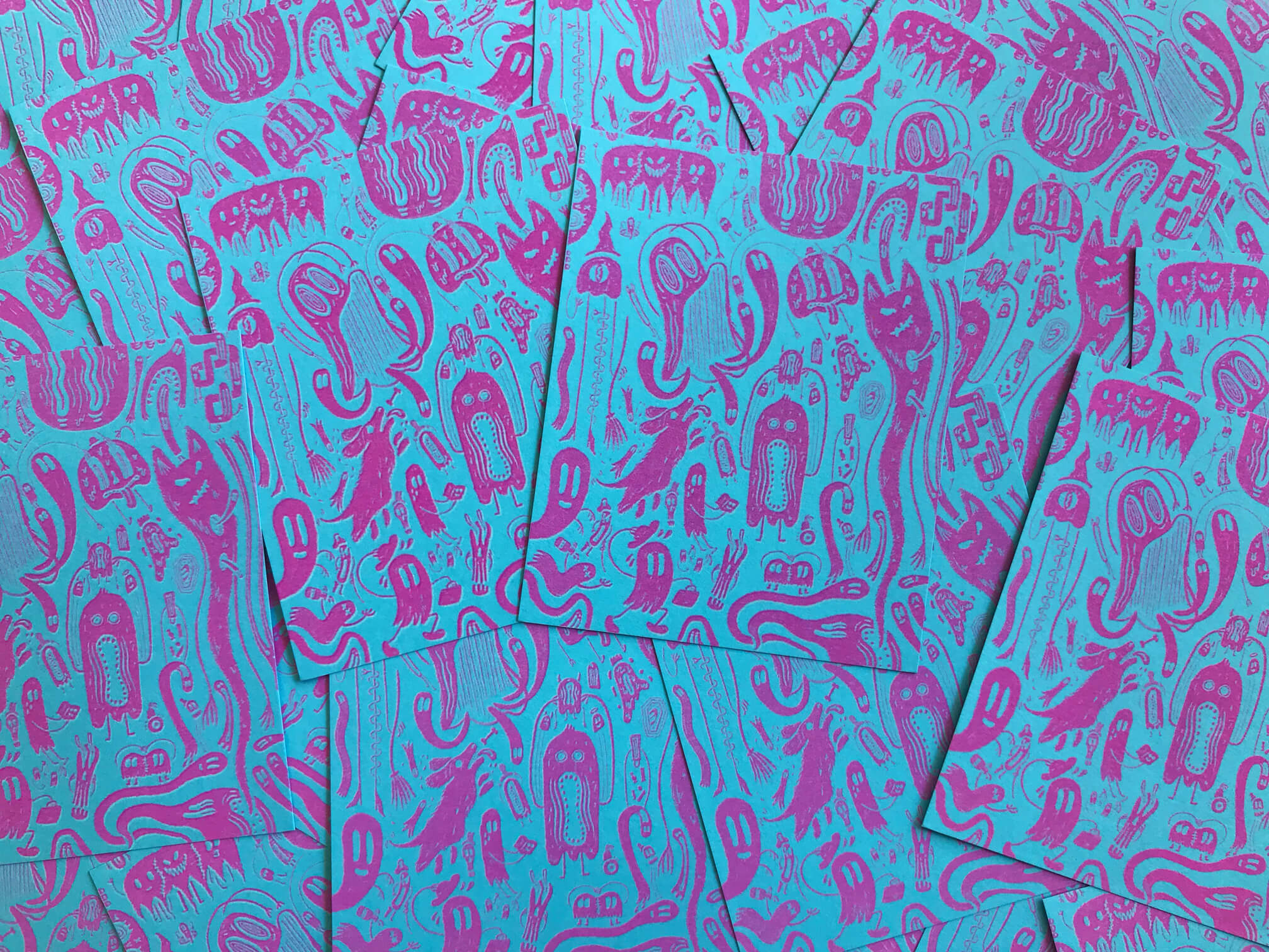Mostly Ghostly Mini Risograph Print – Neon Blue & Shocking Pink