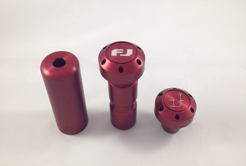 Red FJ Cruiser Shift Knob Set with E-brake - Automatic Transmission