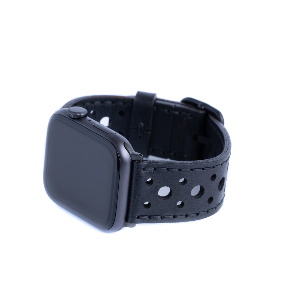 Leather Touring Apple Watch Band - Black