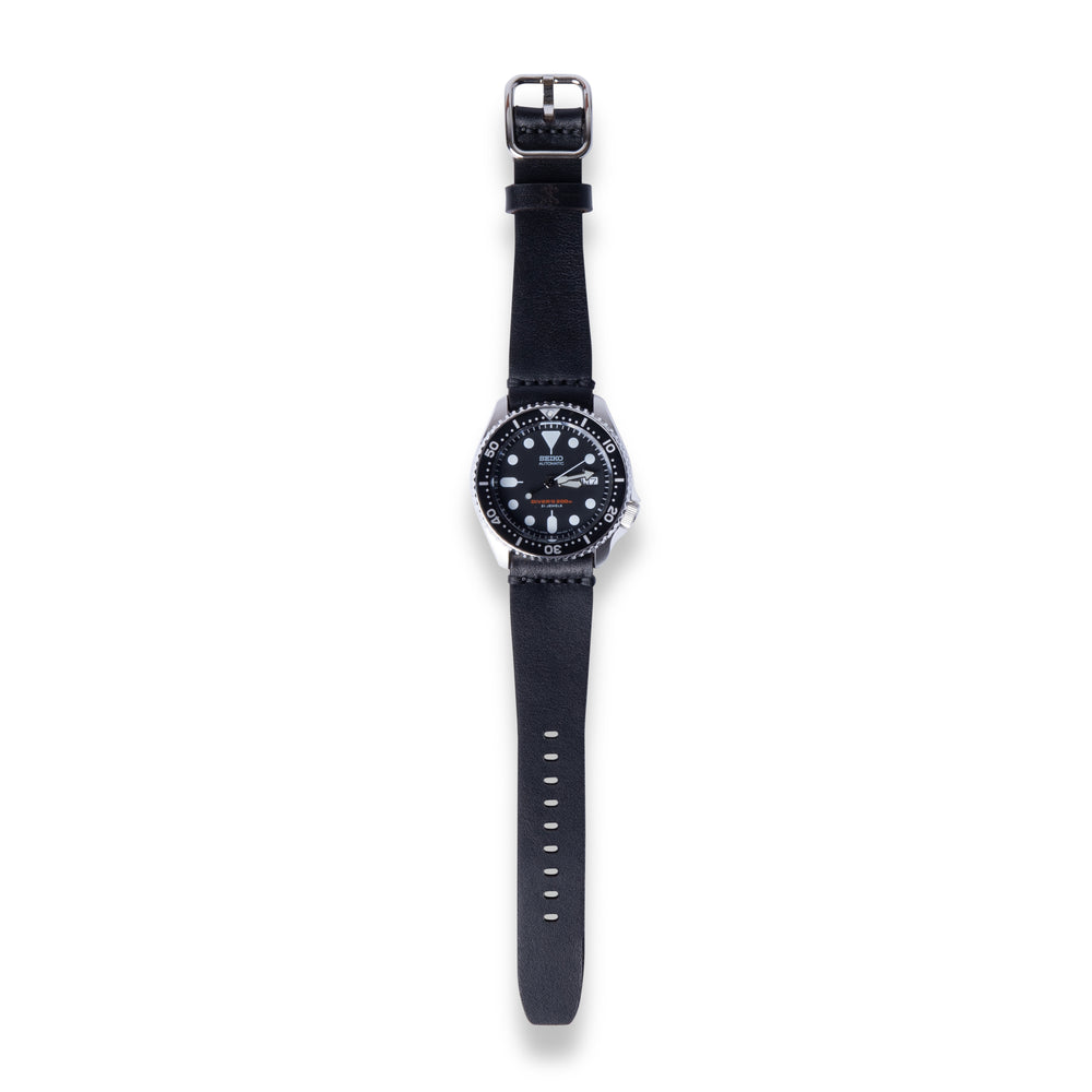 Leather Simple Watch Strap - Black