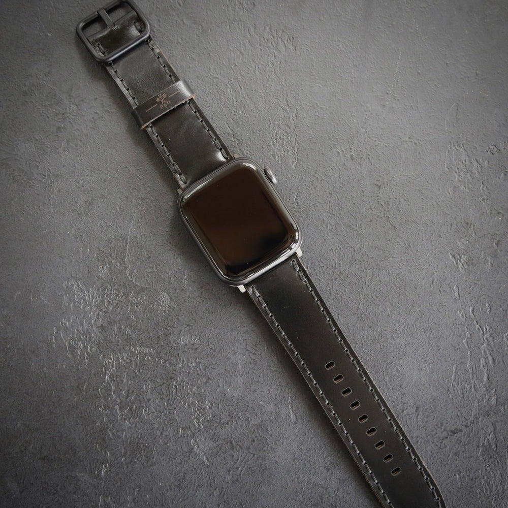 Porter Apple Watch Band - Black Shell Cordovan