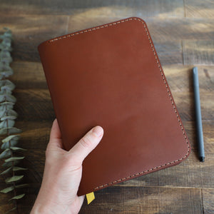 Load image into Gallery viewer, Leather Journal Cover w/ Notebook - Medium Brown