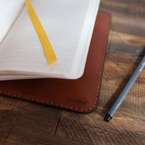 Leather Journal Cover w/ Notebook - Medium Brown