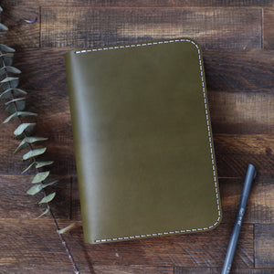 Leather Journal Cover w/ Notebook - Olive