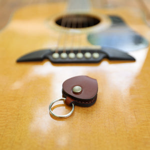 Leather Guitar Pick Holder - Medium Brown