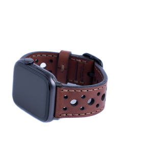 Leather Touring Apple Watch Band - Medium Brown