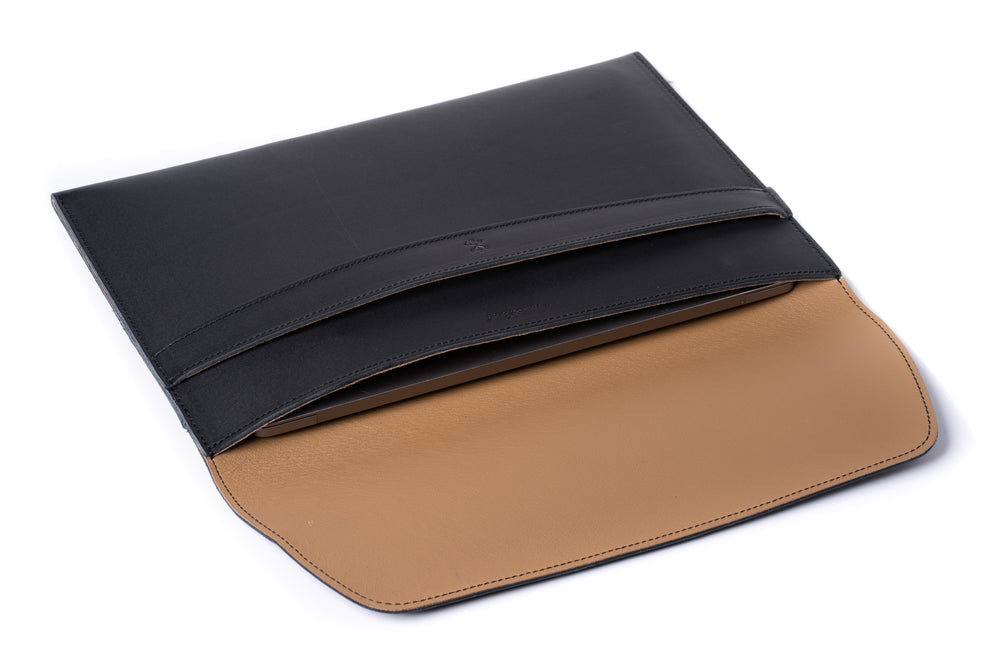 Load image into Gallery viewer, Leather MacBook Envelope Case - Midnight