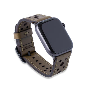 Leather Touring Apple Watch Band - Olive