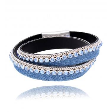 Bracelet made of jeans and anti-allergic metal with glass crystals  Jeans colour: Blue  Metal colour: Mat Silver  Crystals colour: Sky Blue