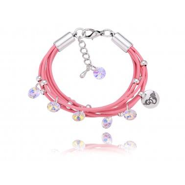 Bracelet made of swarovski crystals, leather band and anit-allergic metal  Leather colour: Pink  Metal colour: Silver  Crystals colour: Opalescent