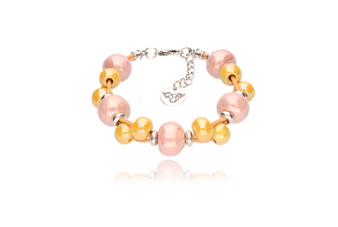 Apricot Bracelet with Mustard and Peach Ceramics Bracelet BC1230