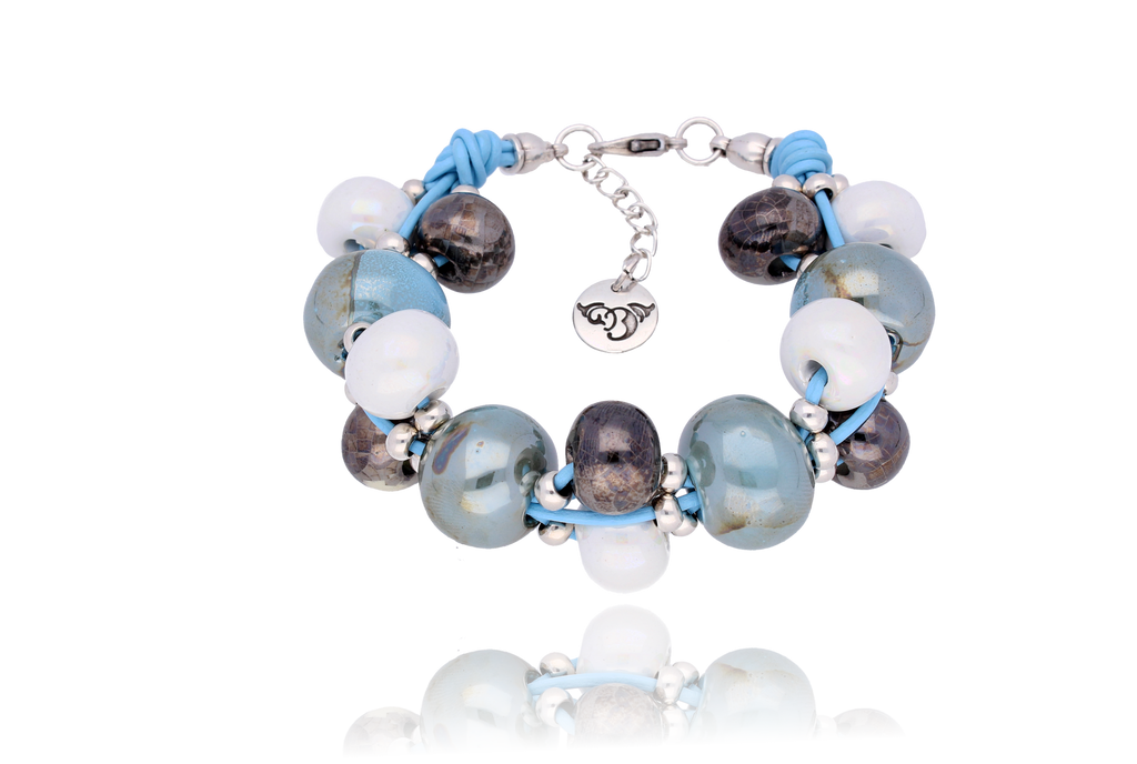 By Dziubeka Ireland Azure Bracelet with White, Graphite and Sky Blue Ceramics BC1642