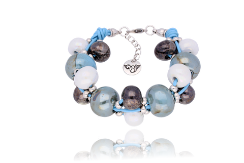 Azure Bracelet with White, Graphite and Sky Blue Ceramics BC1642