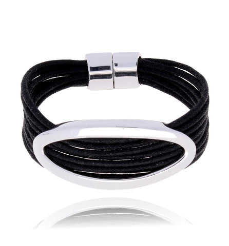 Black and Silver Bracelet BAM0244