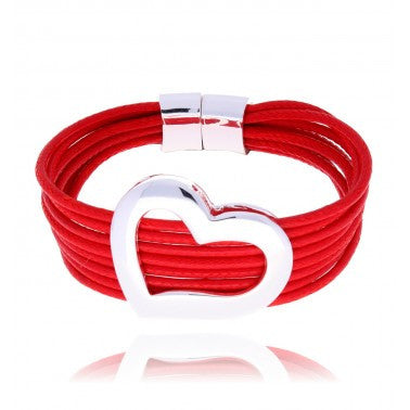 Red Bracelet with Silver Heart BAM0256