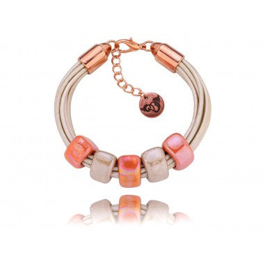 Cream Bracelet with Beige and Orange Ceramics BC00571