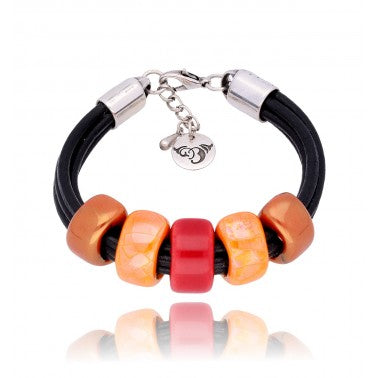 Red and Orange Ceramics Bracelet BC1188