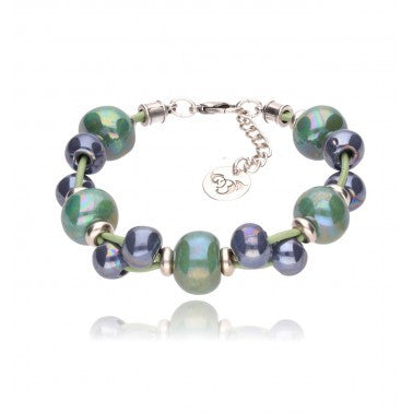 Pistachio Bracelet with Sea Green and Navy Ceramics BC1275