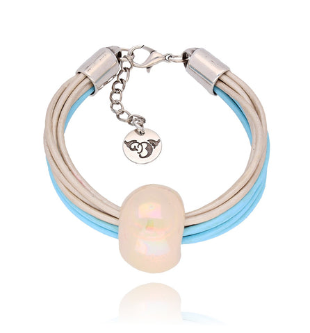 Cream and Sky Blue Bracelet with Beige Ceramics BC1472