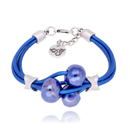 Cornflower Blue Bracelet with Ceramics BC1512