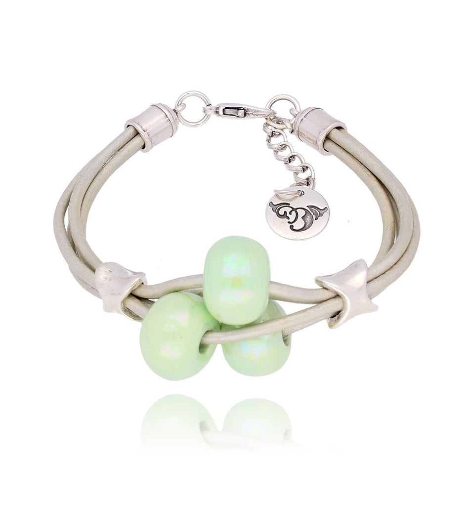 By Dziubeka Ireland Pearl Bracelet with Light Green Ceramics