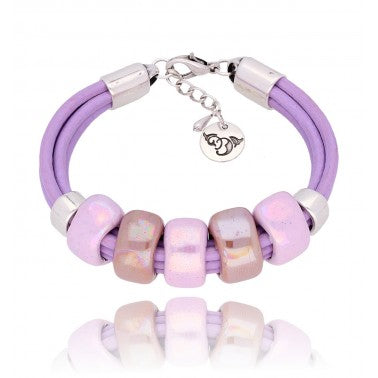 Beige and Purple Ceramics Bracelet BC1634