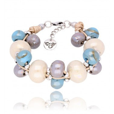 Cream, Sky Blue and Grey Ceramic Bracelet BC1829