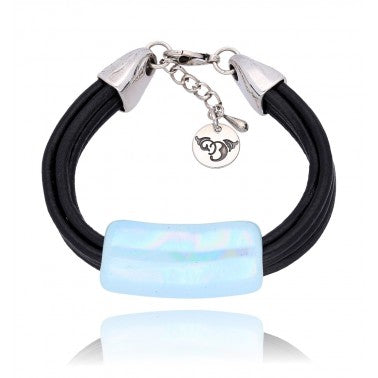 Sky Blue and Black Ceramics Bracelet BC2096