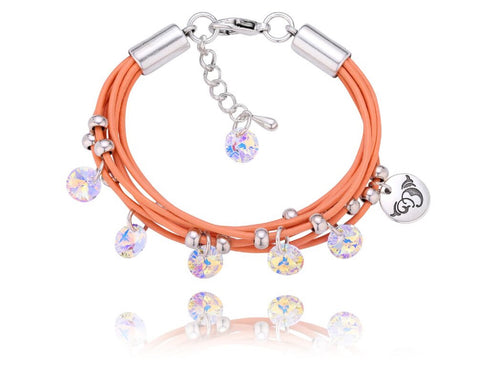 Peach Bracelet with Opalescent Swarovski Crystals BIL2962