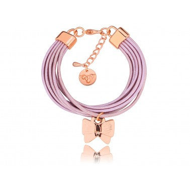 Purple Bracelet with Pink Gold Butterfly BIL3434