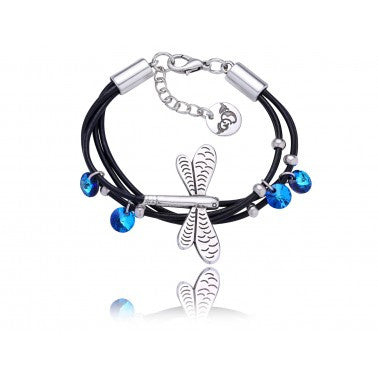Black Bracelet with Blue Swarovski Crystals and Silver Dragonfly BIL4614