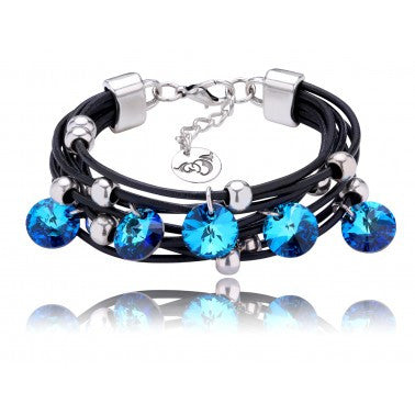 Black Bracelet with Blue Swarovski Crystals and Silver Metal Elements BIL4818