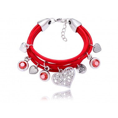 By Dziubeka Ireland Red Bracelet with Red Swarovski Crystals and Silver Hearts