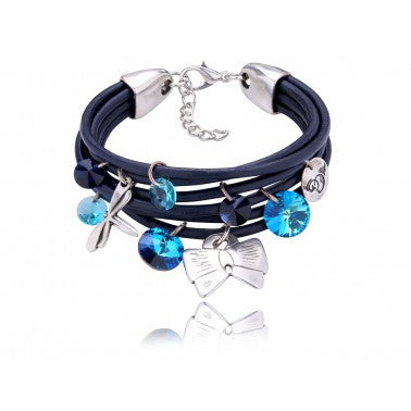 By Dziubeka Ireland Graphite Bracelet with Blue, Sky Blue and Black Swarovski Crystals and Silver Metal Elements