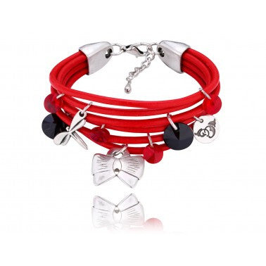 Red Bracelet with Red and Black Swarovski Crystals BIL04970