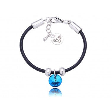 By Dziubeka Ireland Black Bracelet with Blue Swarovski Crystal