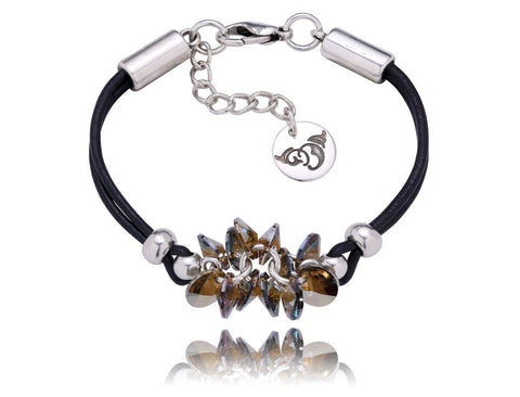 Black Bracelet with Grey Swarovski Crystals Bracelet BIL5048