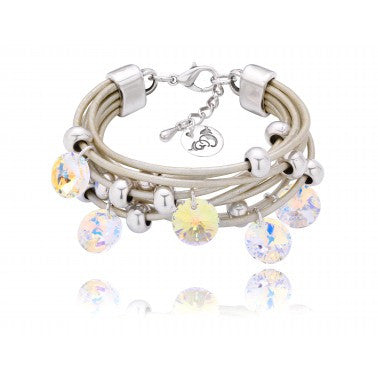 Silver Bracelet with Opalescent Swarovski Crystals and Silver Metal Elements BIL5058