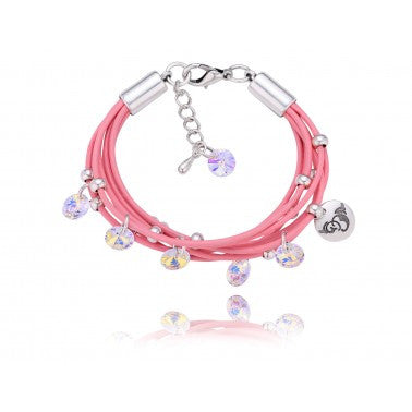 By Dziubeka Ireland Pink Bracelet with Opalescent Swarovski Crystals and Silver Metal Elements
