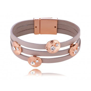 Cacao Bracelet with Pink Gold Metal Elements and Transparent Glass Crystals BP0740