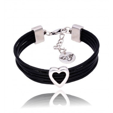 Black Leather Bracelet with Silver Heart BIL5635
