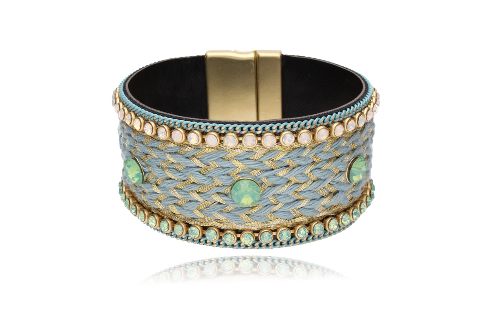 By Dziubeka Ireland Blue and Gold Boho Bracelet with Milk Green and Milk Opalescent Zirconias BBR0006