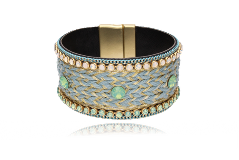 Blue and Gold Boho Bracelet with Milk Green and Milk Opalescent Zirconias BBR0006
