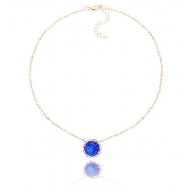 By Dziubeka Ireland Blue and Gold Necklace NGR0008