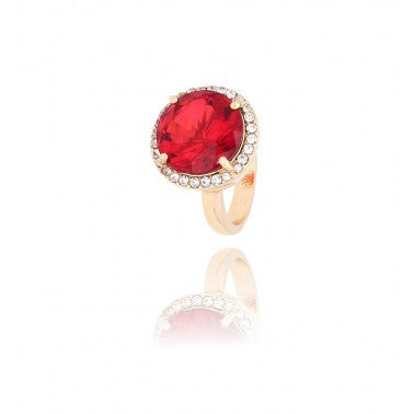 By Dziubeka Ireland Red and Gold Ring NBR0007