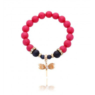 Red and Black Bracelet with Gold Dragonfly BMMH2069