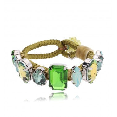 By Dziubeka Ireland Green and Yellow Statement Bracelet with Glass Crystals BMS0377